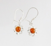 AE9 Silver Flower Baltic Amber