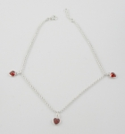 A25 Silver crystal heart anklet