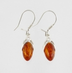 AE6 Silver Baltic Amber Earrings