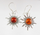 AE7 Silver Sun Baltic Amber Earrings