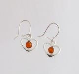 AE8 Silver Heart Baltic Amber Earrings