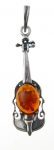 AP19 Silver Double Bass Baltic Amber Pendant