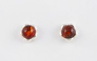 AS5 Silver Flower Amber Studs