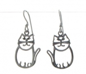 E10 Silver cat earings