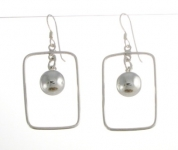 E127 Oblong with silver ball earrings