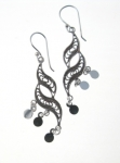 E145 Detailed swirl mirror drop earrings