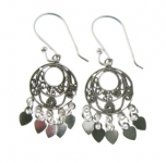 E146 Detailed circular mirror drop earrings