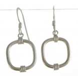 E147 silver contemporary Square earrings
