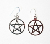 E155 Silver Pentagram Earrings