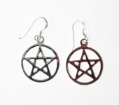 E155 Silver Pentagram Earrings