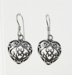 E156 Filigree Heart Earrings