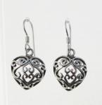 E156 Filigree Heart Earrings
