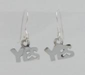 E158 Silver 'YES' Earrings