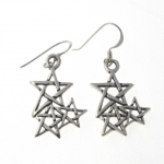 E163 cluster pentagram earrings