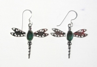 E17 Silver with Gemstone Dragonfly Earrings
