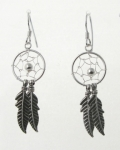 E193 Dream Catcher Feather Earrings