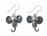 E89 Silver Elephant Head Earrings