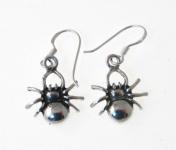 E99 Silver Spider Earrings