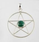 GP10 Silver gemstone pentagram pendant
