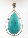 GP48 Silver natural turquoise pendant