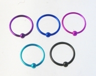 H29 coloured silver nose hoops
