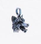 P140 Silver wolf head pendant