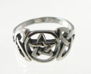 R221 Silver pentagram celtic ring