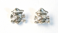 S31 Sterling silver skull and crossbone studs.