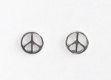 S4 Silver peace sign studs
