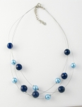 SHN26 Simulated pearl and glass necklace