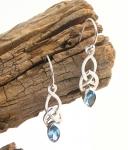 Silver Blue Topaz Celtic Earrings
