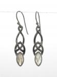 Silver Celtic Rainbow moonstone earrings