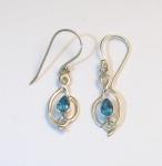 UCE7 Silver Blue Topaz Celtic Earrings