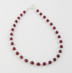 A7 Silver and garnet anklet