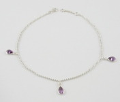 A24 Silver crystal drop anklet