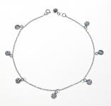 A35 Sterling silver pentagram anklet