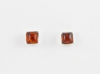 AS8 Silver square amber studs