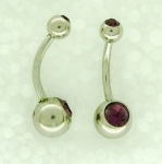 Double jewelled belly bars 1.6 x 12mm long
