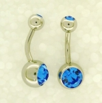 Double jewelled belly bars 1.6 x 8mm long