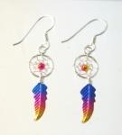 E190 Sterling Silver coloured dreamcatcher earrings