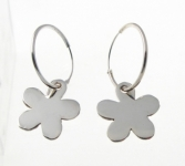 H31 Silver hoops with flower
