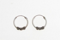H31a Silver balinese hoops