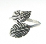 R121 Silver feather ring