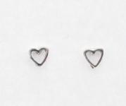 S1 Silver love heart studs