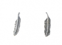 S117 Silver Feather Studs