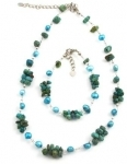 SHB7 Freshwater pearl and turquoise bracelet