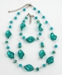 SHE18 Handmade glass earrings silver hooks
