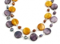 SHN15 Freshwater pearl and shell necklace