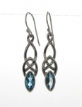 Silver Blue Topaz Celtic Earrings