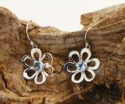 UCE4 Blue Topaz Silver Earrings